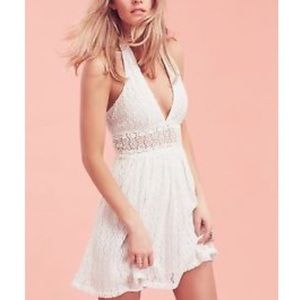 Free People While Lace Halter So Sweetly Dress